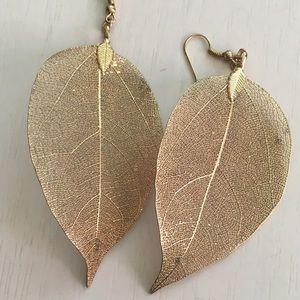 World Market goldtone leaf earrings BOGO50%off